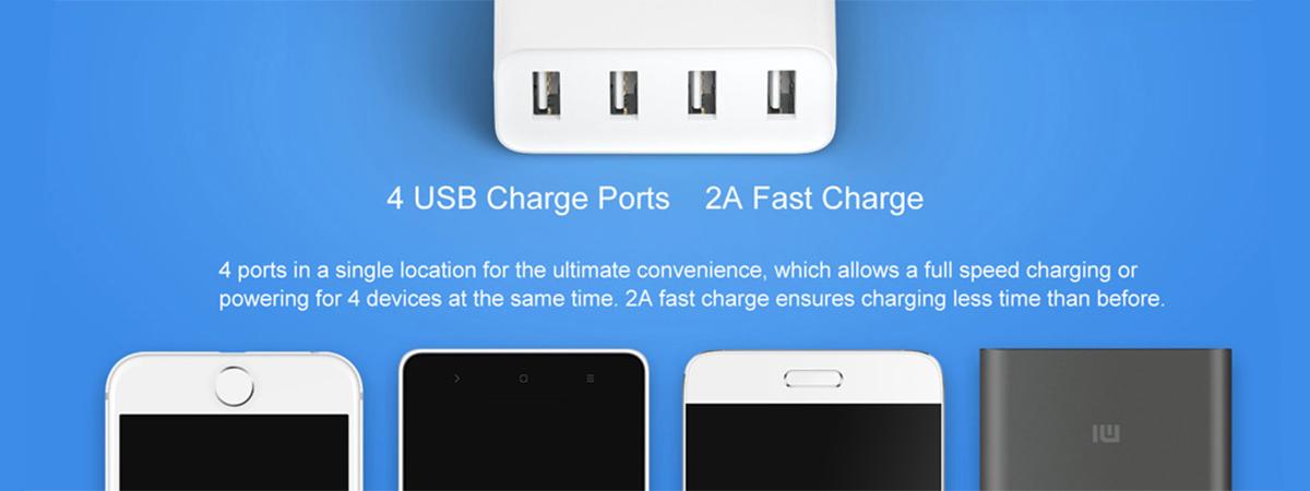 شارژر USB شیائومی با ۴ پورت